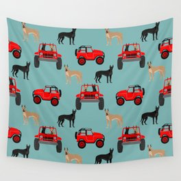 Great Dane jeep car dog breed pattern custom pet portrait Wall Tapestry