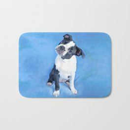 Cute Boston Terrier Puppy Painting Bath Mat
