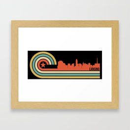 Retro Lansing Michigan Skyline Framed Art Print