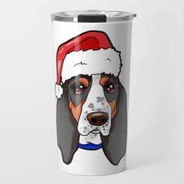Basset Hound Dog Christmas Hat Travel Mug