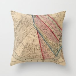 Vintage Map of New Orleans LA (1861) Throw Pillow
