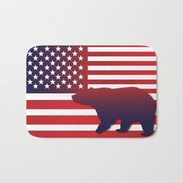 American flag Bear California Bath Mat