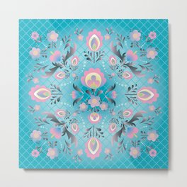 Folk Flowers in Pink and Dusty Blue Metal Print