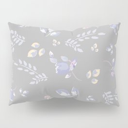 Spring colors watercolor leaves & tulips on light grey background Pillow Sham