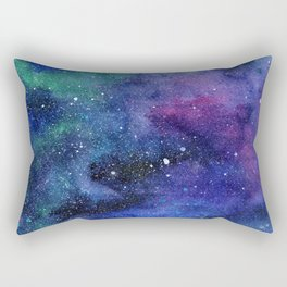 Colorful Galaxy Space Watercolor Rectangular Pillow