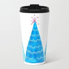 Blue Christmas trees Travel Mug