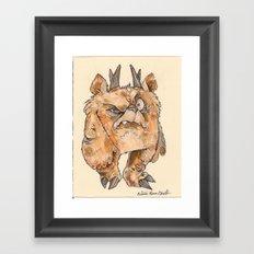 Grumpy Little Puff Monster Framed Art Print