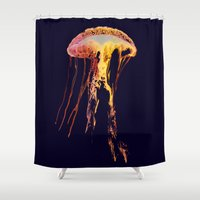 jelly fish Shower Curtains featuring Jelly Fish Blue by Luigi Riccardi