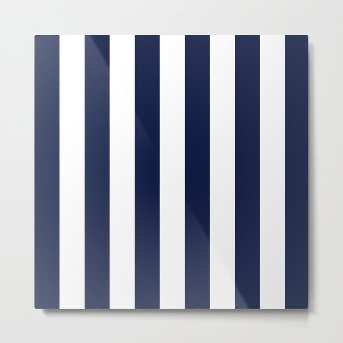 Blue Indigo Navy Stripes Vertical Metal Print