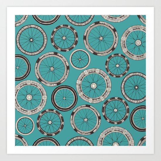 bike wheels turquoise by sharonturner