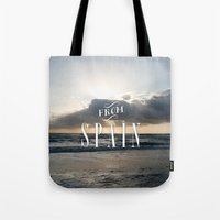 spain Tote Bags featuring From Spain by Nena Loca