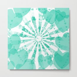 Pop art green illustration on the background of hearts Metal Print