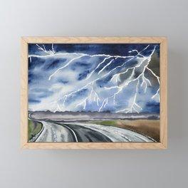 Thunderstorm en route Framed Mini Art Print