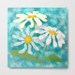 Pastel Daisies on Turquoise Blue Metal Print