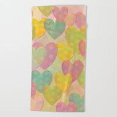 Pastel Colors Flying Hearts Beach Towel