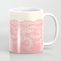 aelwen Mugs featuring Lace #CoralPink by Armine Nersisian