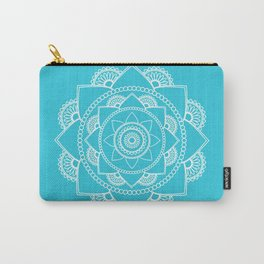 Mandala 01 - White on Turquoise Carry-All Pouch