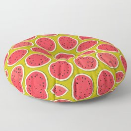 watermelon polka chartreuse Floor Pillow