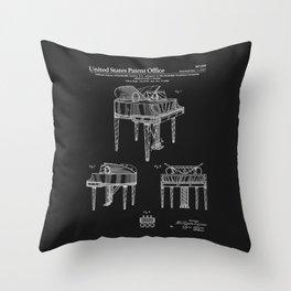 Piano Patent - Black Throw Pillow