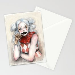 """Giggles"" Mixed media Clown Painting Stationery Cards"