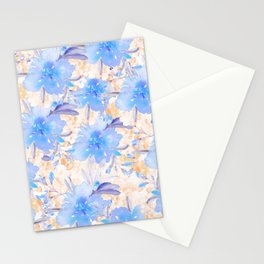Country chic watercolor blue lavender orange ivory floral Stationery Cards