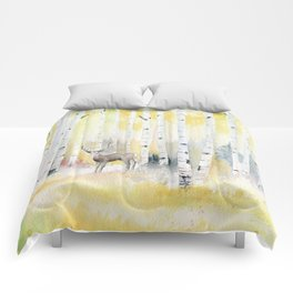 Birch Forest In The Morning Comforters
