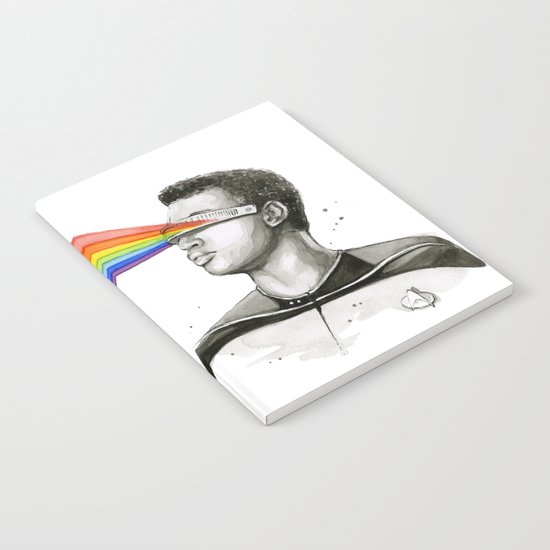 Geordi Rainbow Watercolor Portrait Geek Sci-fi Notebook