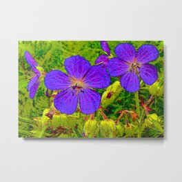Blue blossoms on canvas Metal Print