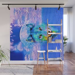 Wolf Moon and the Deep Blue Sea Wall Mural
