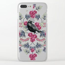 Crows, Bleeding Hearts & Roses Floral/Botanical Pattern Clear iPhone Case