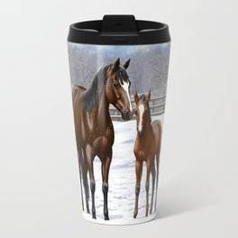 Bay Mare and Cute Foal in Winter Travel Mug