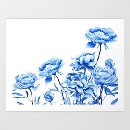 blue peonies 2 Art Print