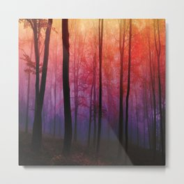 Whispering Woods, Colorful Landscape Art Metal Print