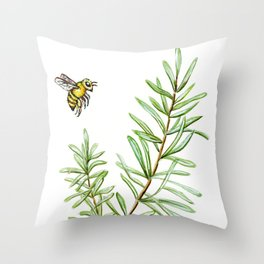 Rosemary and Honey Bee Throw Pillow