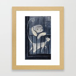 The boy and his cat Framed Art Print