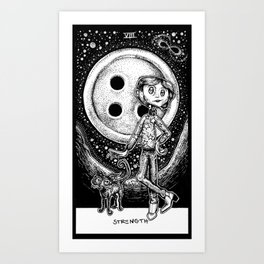Coraline Strength Tarot Card Black and White Art Print