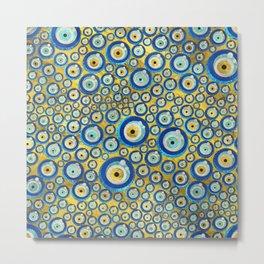 Greek Blue Glass Evil Eye Amulet Pattern Metal Print