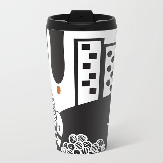 Black and white landscape Metal Travel Mug