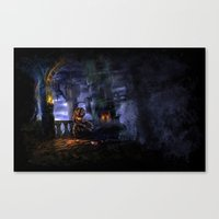 castlevania Canvas Prints featuring Castlevania: Vampire Variations- Bridge by LightningArts