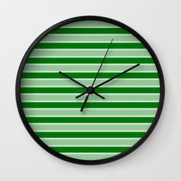 Large Horizontal Christmas Holly and Ivy Green Velvet Bed Stripes Wall Clock