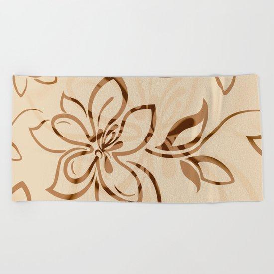 Brown Garden Beach Towel