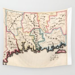Vintage Map of Connecticut (1819) Wall Tapestry