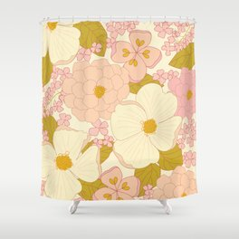 Pink Pastel Vintage Floral Pattern Shower Curtain