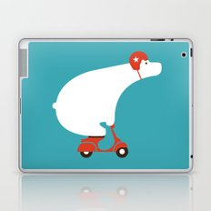 Polar bear on scooter Laptop & iPad Skin