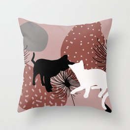 Black and white Cat with Dandelion Flowers Throw Pillow
