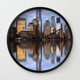 Cityscape of Financial District of New York Wall Clock