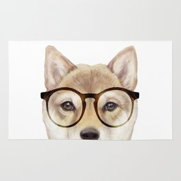 Shiba inu with glasses Dog illustration original painting print Rug