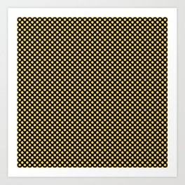 Black and Primrose Yellow Polka Dots Art Print