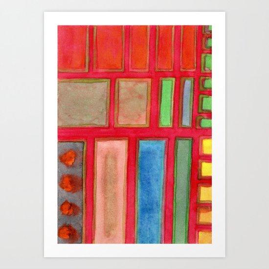 Some Chosen Rectangles orderly on Red Art Print