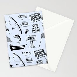 Gone Fishing // Light Blue Stationery Cards